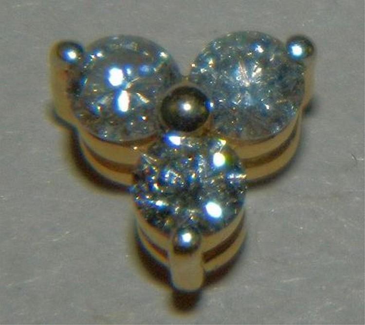 14K 3 Diamond Pendant