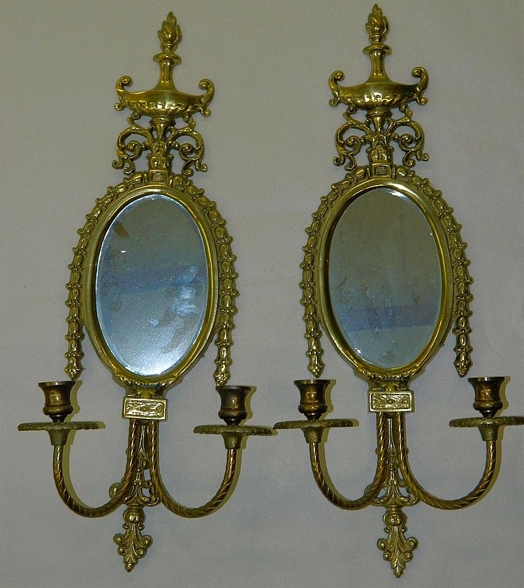 Brass Mirrors with 2 Candle Holders