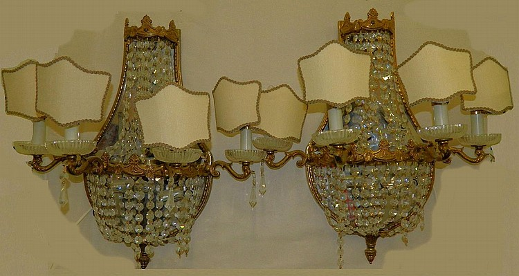 Six Light Bronze Mirrored Wall Sconces w Prisms