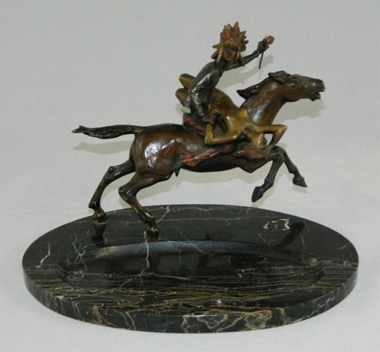 Austrian bronze Indian on horse with nude woman