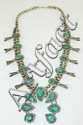 Silver Squash Blossom Necklace with Turquoise