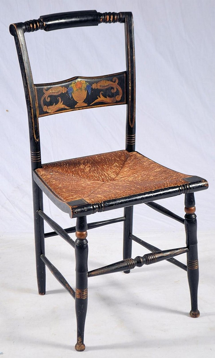 Stenciled rush bottom chair
