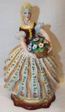 Italy Porcelain Figurine Of Woman W/ Flower Basket