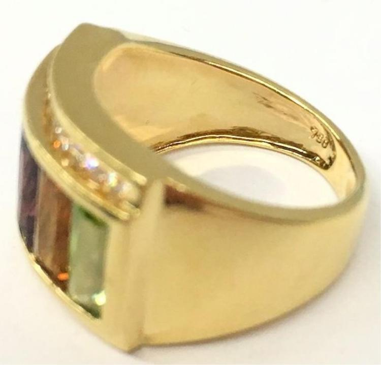 18k gold ring w rainbow colored stones