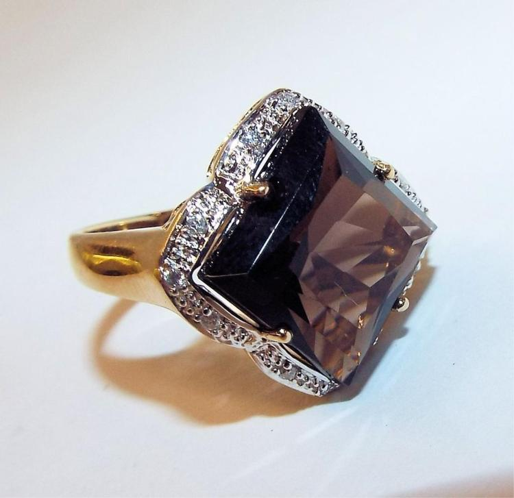 14k gold smoky topaz ring with accent diamonds