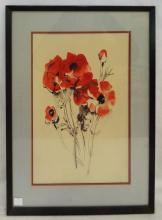 Artist Signed Mixed Media Of Flowers