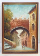 Oil On Canvas City Scene Signed Salvini