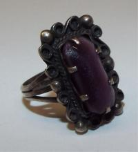 Mexico Sterling Silver Ring With Purple Stone