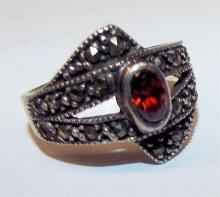 Sterling Silver And Marcasite Ring With Red Stone