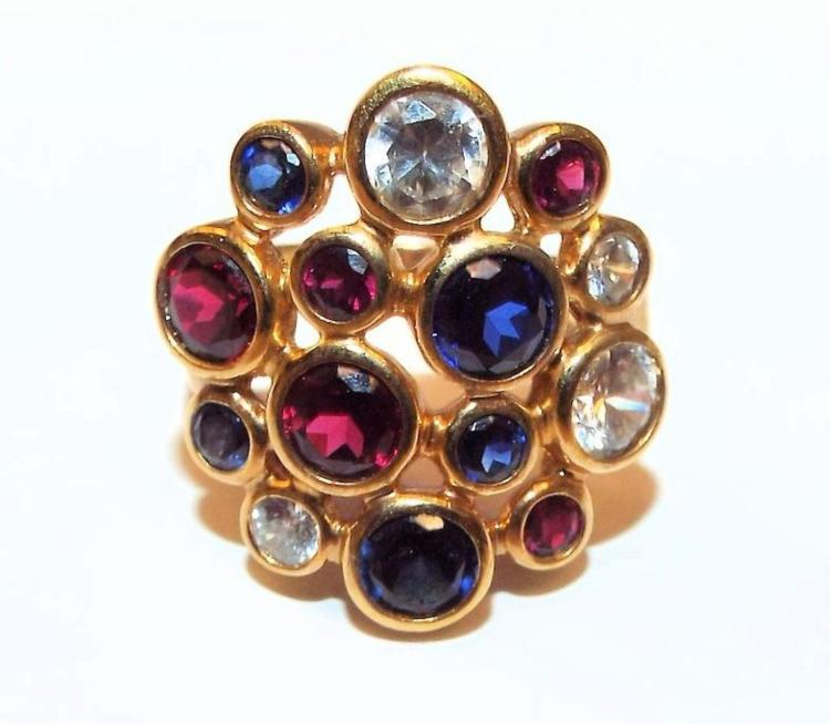 Red Blue Stone : Sterling silver ring with red white blue stones