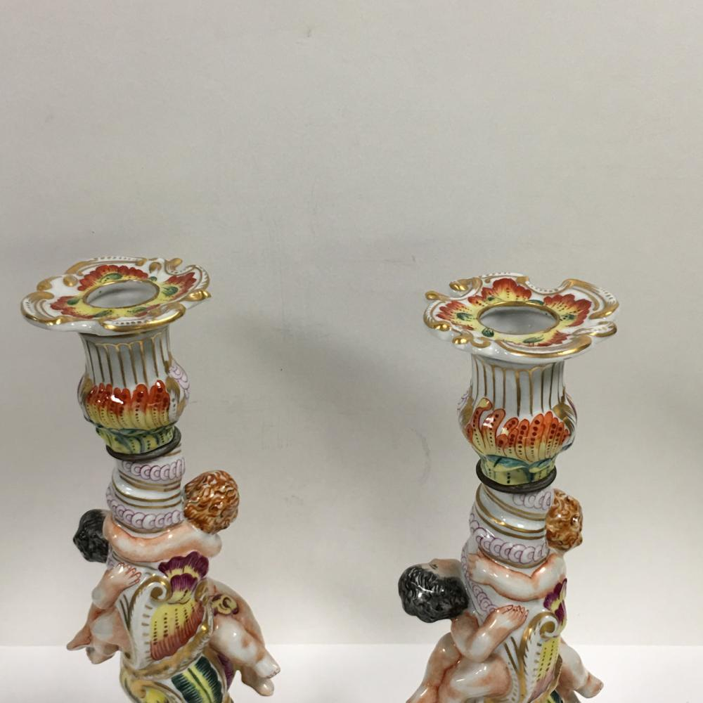 Pair Of French Porcelain Figural Candle Sticks