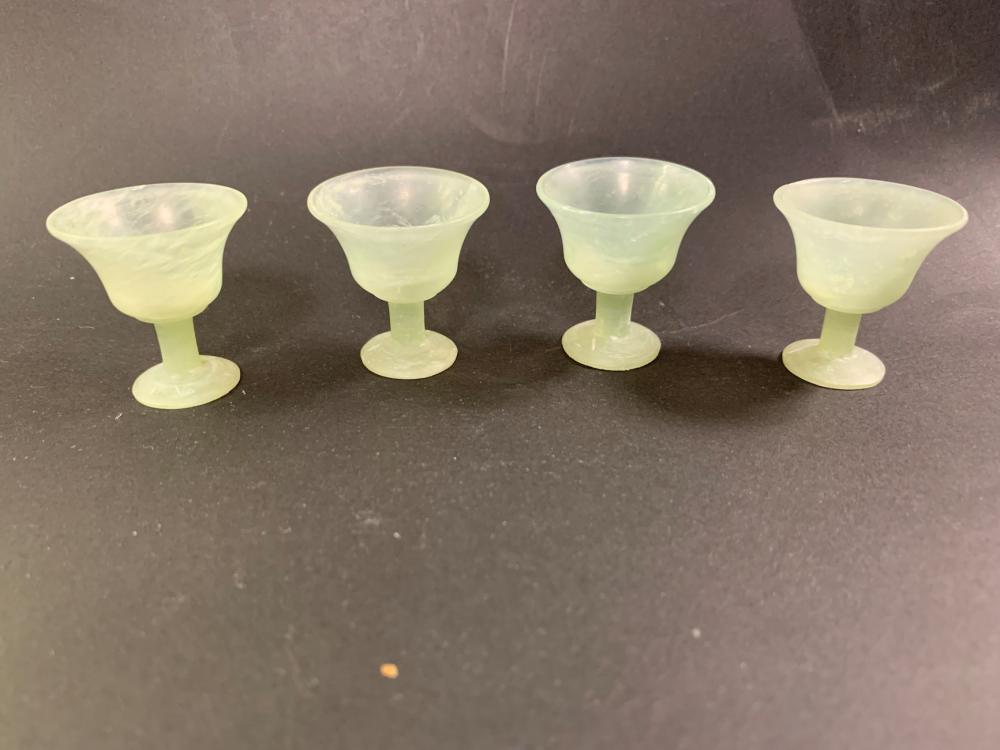 Oriental Jade Carved Tea Pot, Cups & Tray