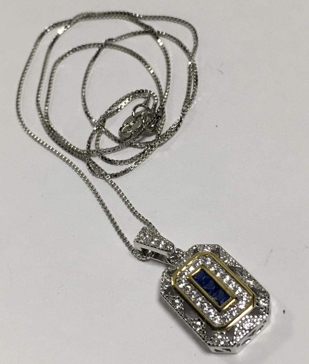 Sterling Silver Necklace & Blue Stone Pendant