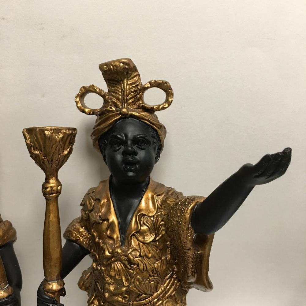Pair Of Decorative Gilt Decorated Candle Holders