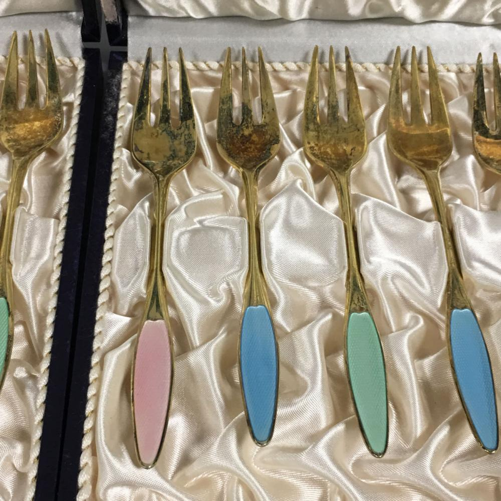 Set Of 12 Frigast Sterling Enameled Forks