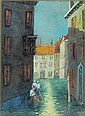 Jane Peterson water color, Venice canal scene