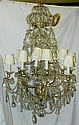 Large 18 Light Bronze and Glass Chandelier