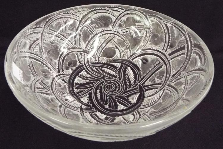 Lalique Art Glass Bowl With Bird Design