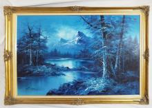Artist Signed Mountain Landscape In Blue Tones