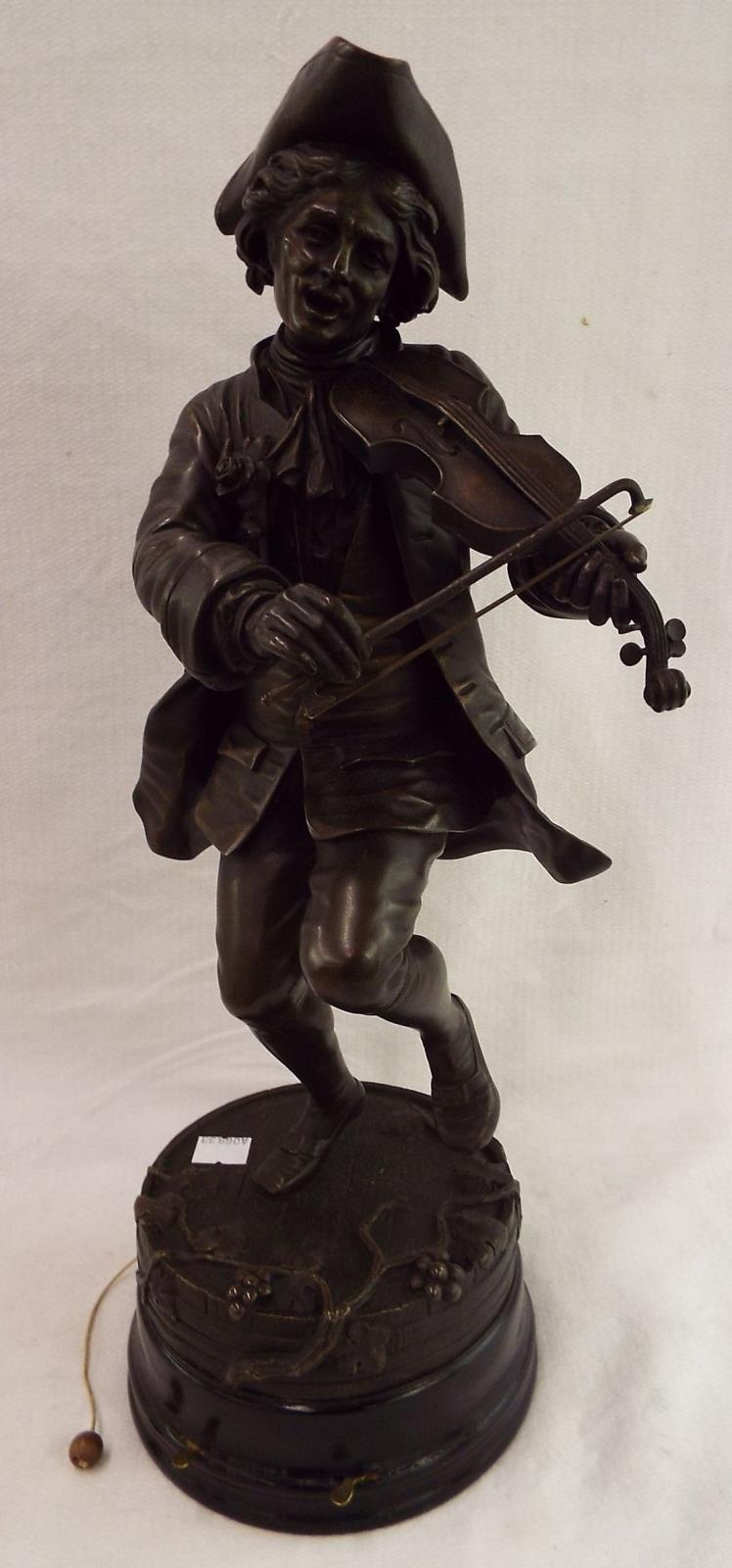 Bronze Violinist Sculpture Signed Coinchon