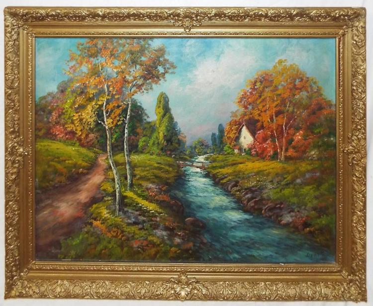Artist Signed Oil On Canvas Landscape