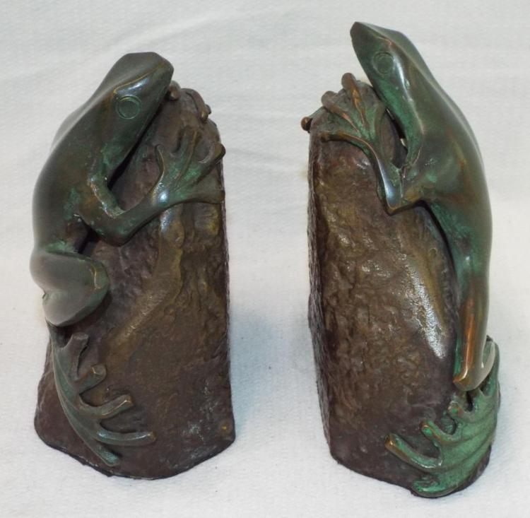 Pair Of Bronze Frog Sculptures