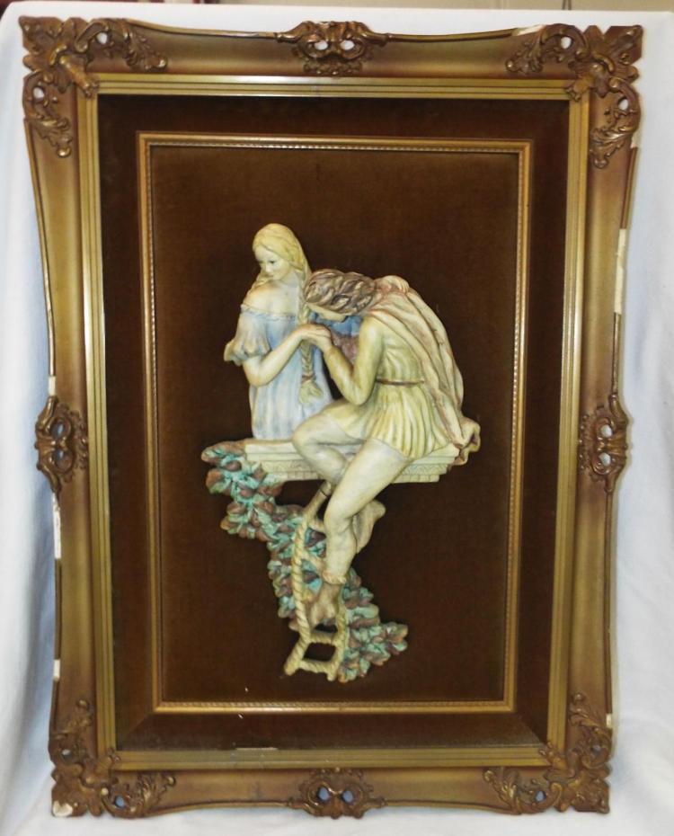 Framed Hand Painted Porcelain Figural Plaque