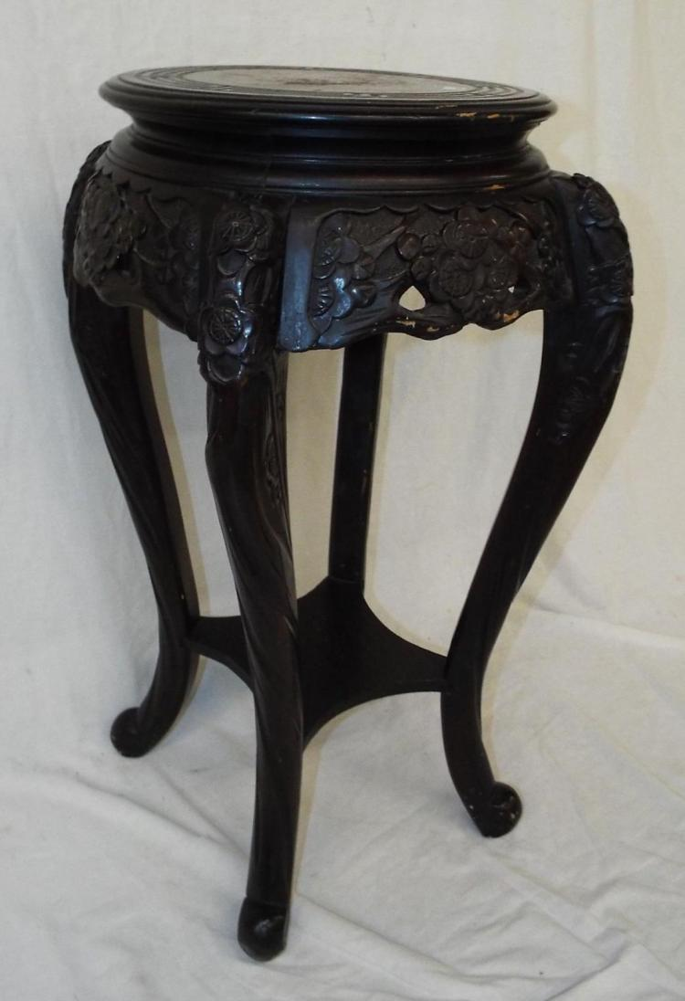 Oriental Carved Two Tier Table With Painted Dragon