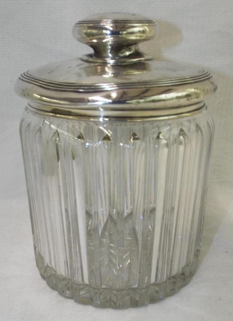 Crystal And Sterling Silver Trophy Jar
