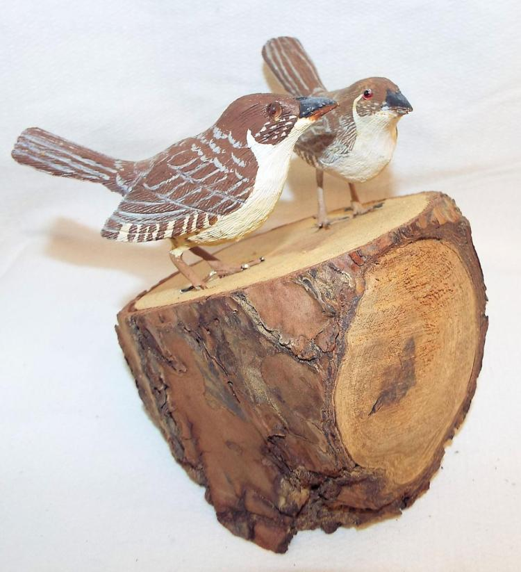 2 Bob Lee Hand Carved & Painted Nuthatches On Tree