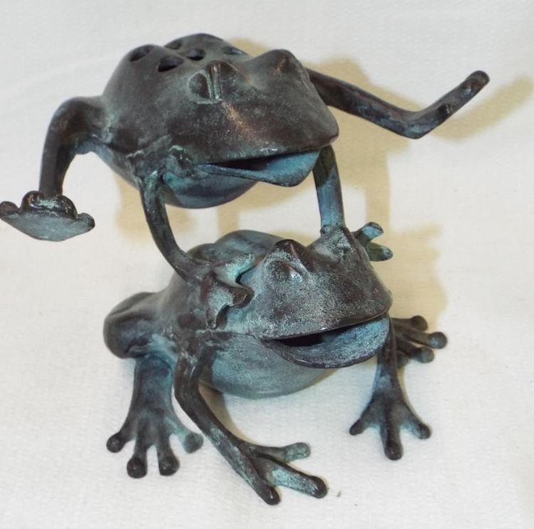 Bronze Leap Frog Sculpture