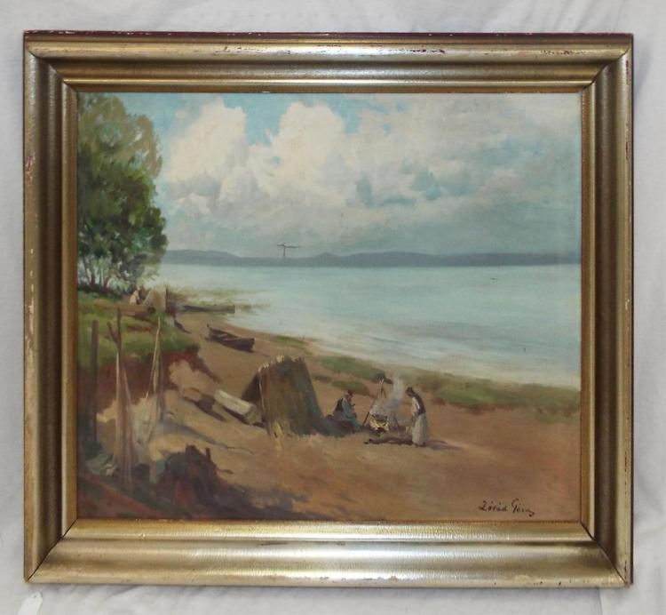 Oil On Canvas, Beach Scene Landscape, Atist Signed