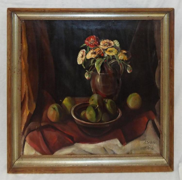 J. Selde, O/c Still Life Of Flowers And Fruit