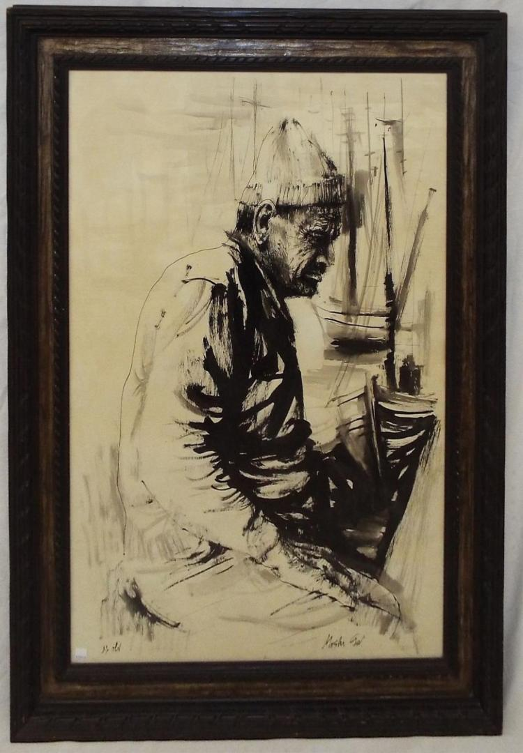 Artist Signed Portrait Of Fisherman