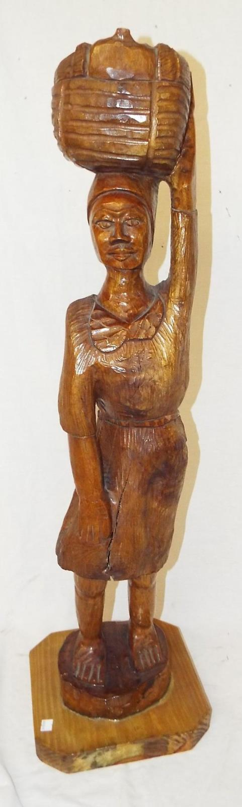 Carved Wooden Sculpture Of African Lady