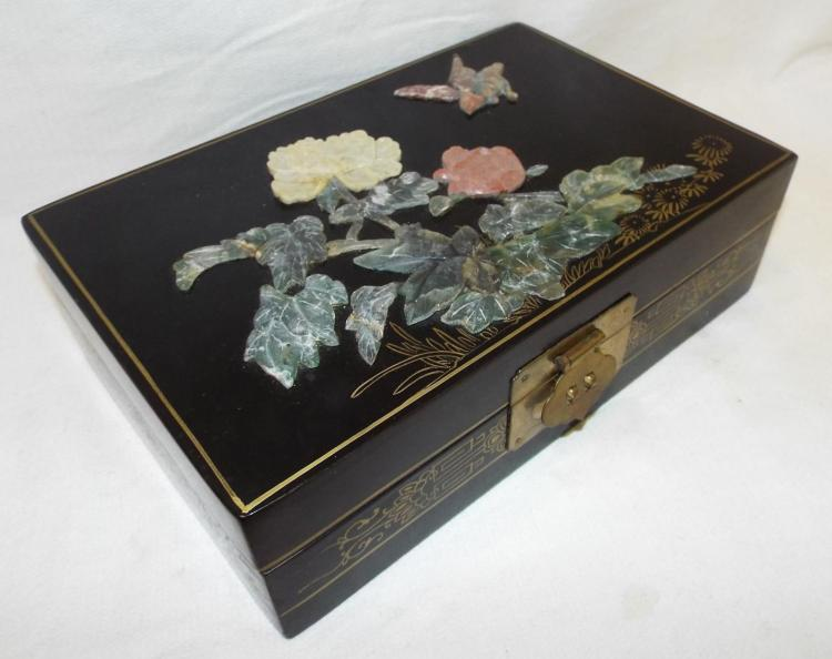 Oriental Box With Hardstone Applied Design