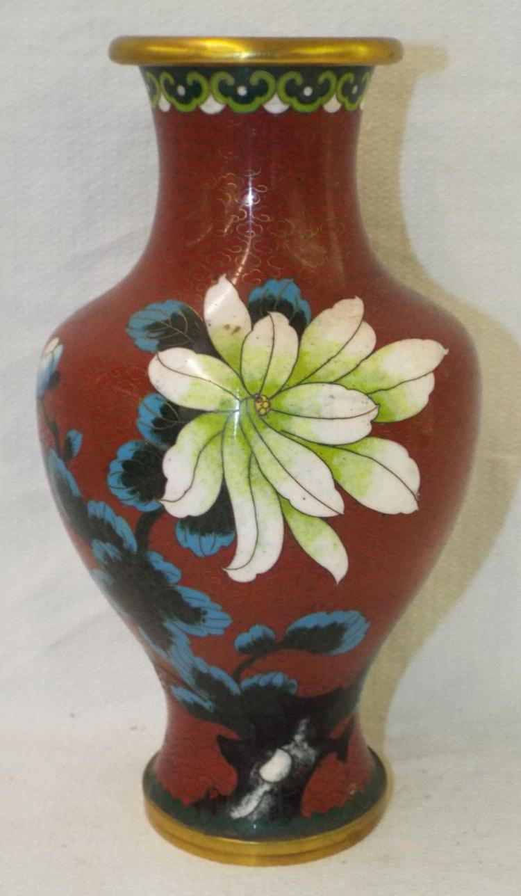 Cloisonne Vase With Birds And Flowers