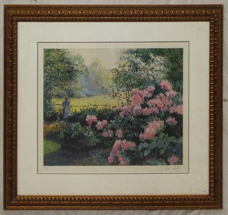 H. Claude Pissaro Signed Print, Rhododendrons
