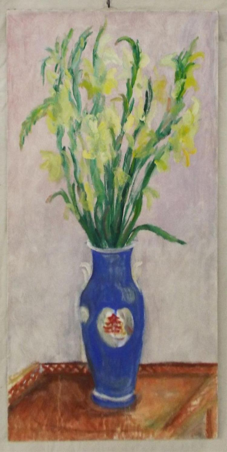 Oil On Canvas Still Life Of Flower Vase