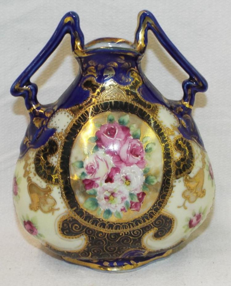 Hand Painted Porcelain Double Handled Vase