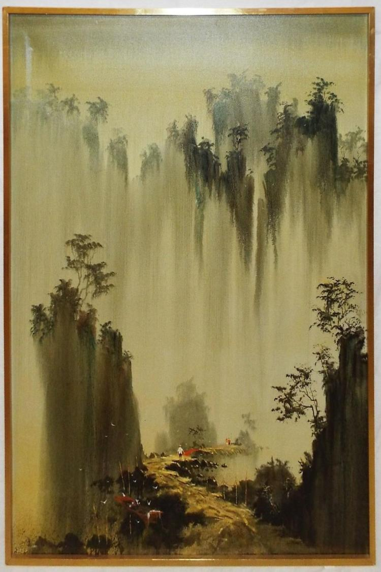 Artist Signed Oil On Canvas Of Oriental Scene