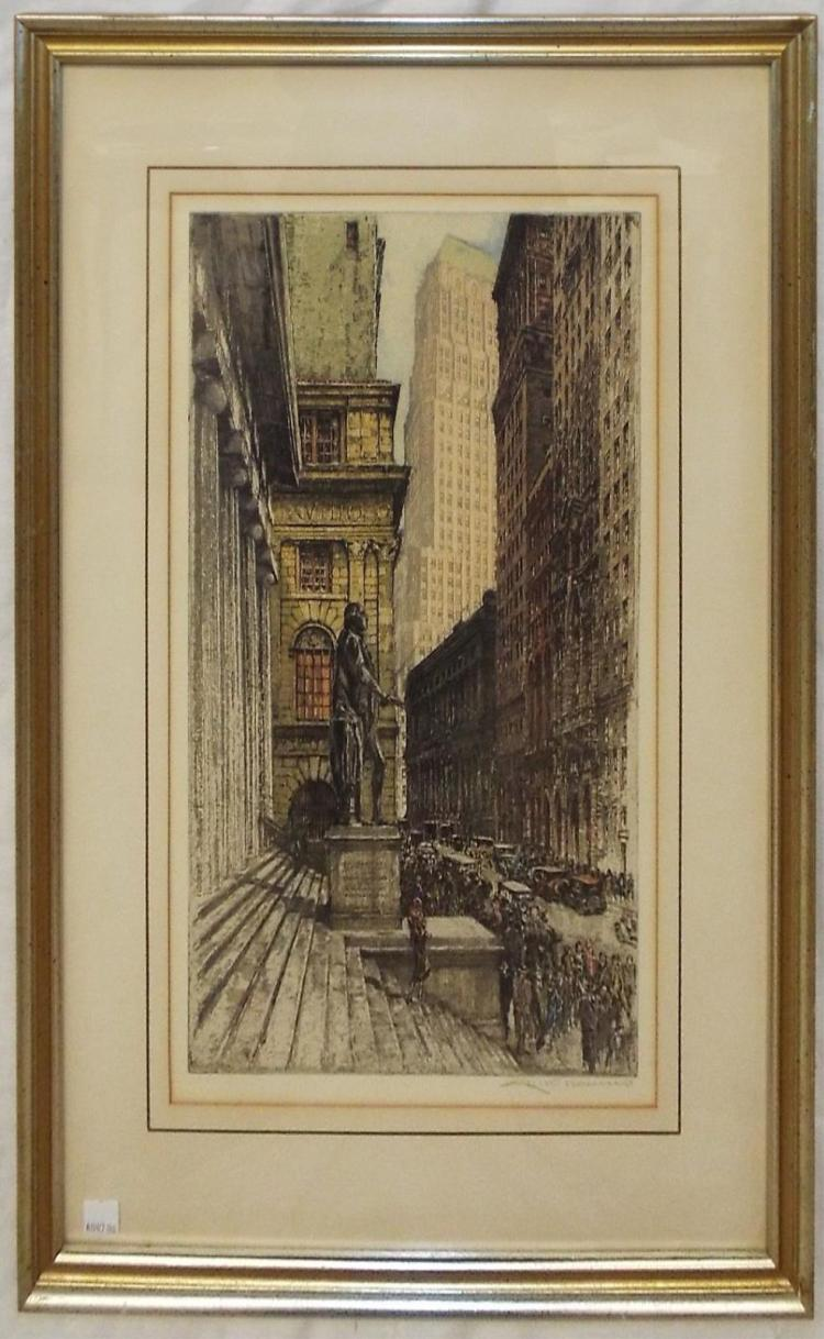 Kasimir Signed Colored Engraving, City Scene