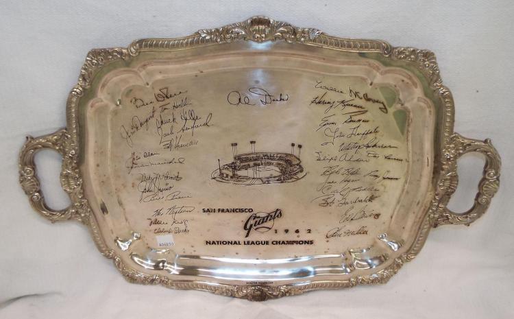 Walter Minskoff Silver Plate Trophy Tray, Giants