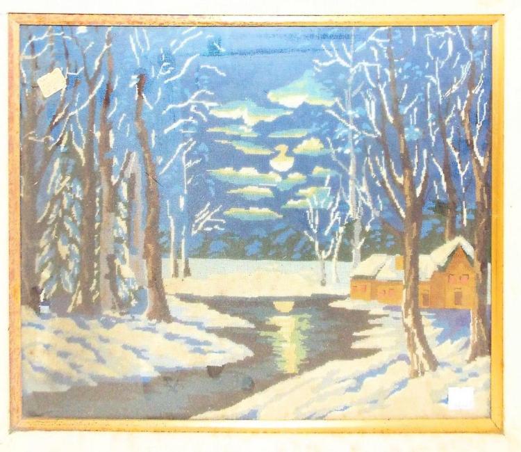 Framed Winter Snow Scene Needlework