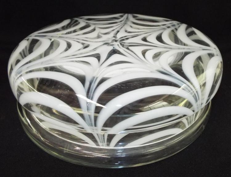 Large Art Glass Swirl Design Jar With Lid