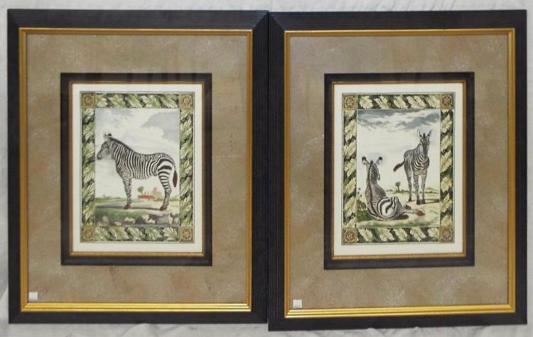 Pair Of Framed Zebra Prints