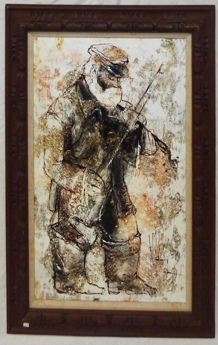 Signed Oil On Canvas Of Violinist
