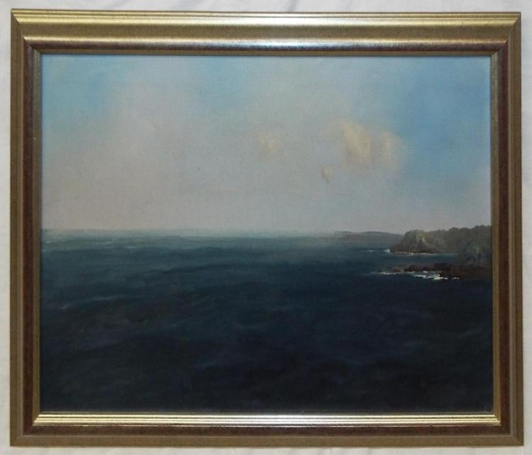 Artist Signed Oil On Canvas Ocean Scene