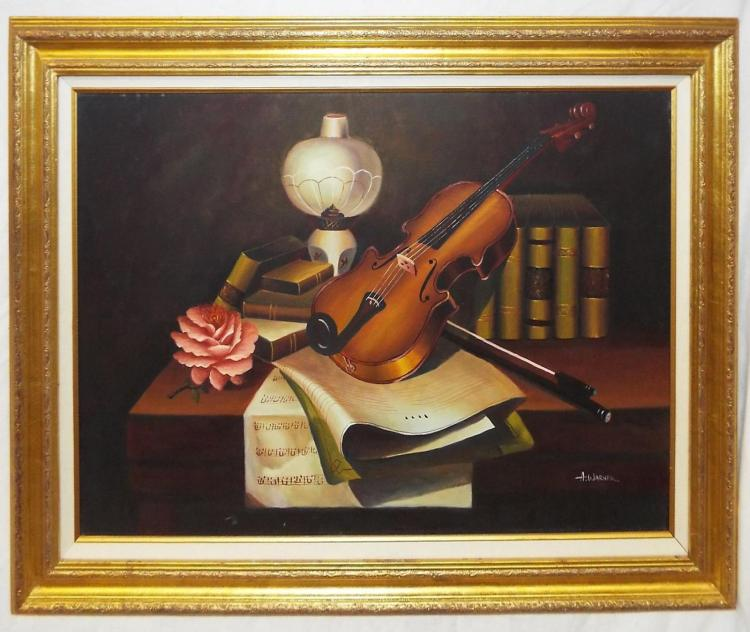 A. Warner Oil On Canvas Still Life With Violin