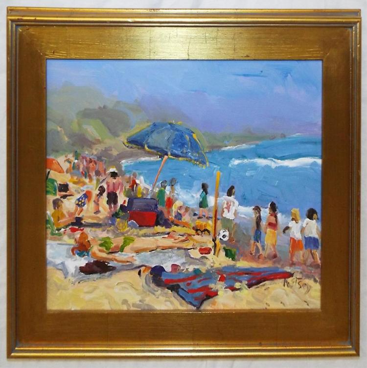 Kathleen Elsey Oil On Canvas, Beach Day